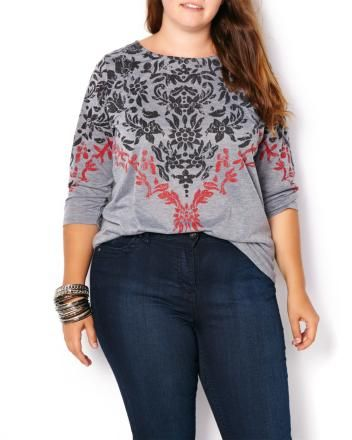 Shaped Fit Printed T-Shirt   Penningtons