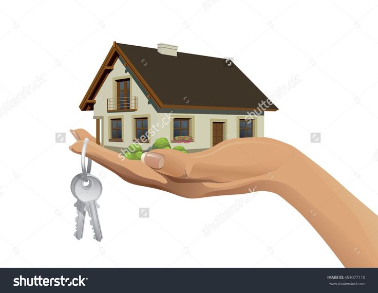 Miniature House Building On Hand With Keys Stock Vector Illustration 453077110…