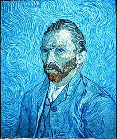 Here we have another self portrait of Van Gogh; nice use of blues throughout the painting.