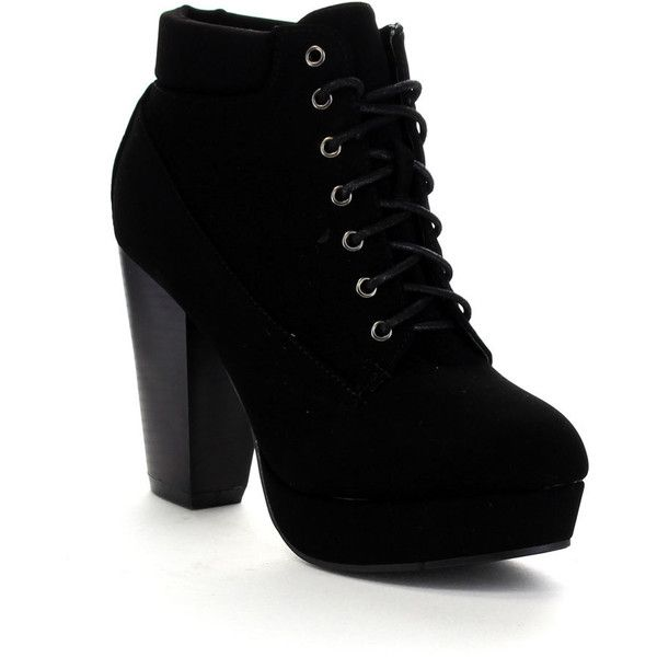 Beston Ga14 Women's Stylish Chunky Heel Ankle Booties ($40) ❤ liked on Polyvore featuring shoes, boots, ankle booties, black, platform booties, lace up platform booties, lace up boots, black booties and lace-up ankle booties
