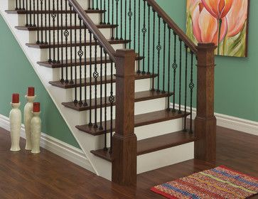 iron balusters and box newels traditional staircase