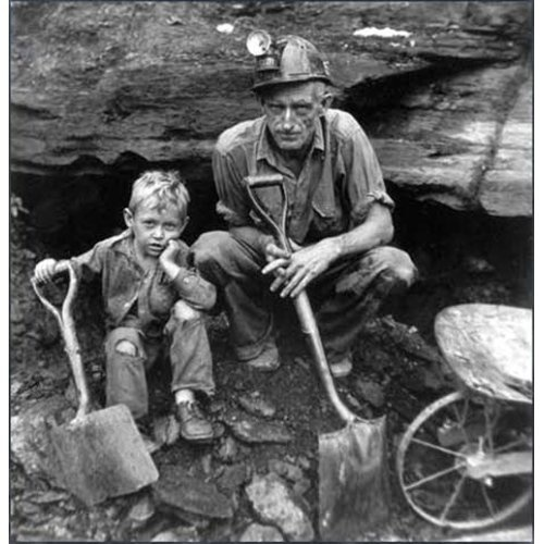 "Coal mining vintage photo. Getting coal out of a ""COALBANK"" as they were called. A little cave on their own land,that was full of coal."