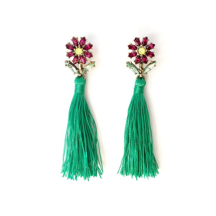FREE SHIPPING ON ORDERS OVER $50   Funky statement earrings. Green #tassel earrings.  Seriously gorgeous.  The flowers are so pretty and the green tassel really makes them POP.  Stud back, 12 grams per pair, 8.5cms long.  #statementjewelry #statementearrings #colourfuljewellery