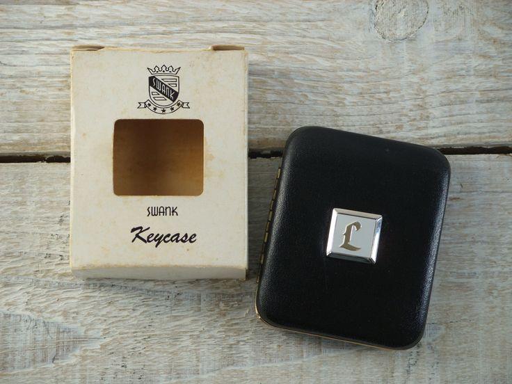 Vintage Swank Key Case ~ L Monogram Auto Accessories ~ Monogrammed Black Carrier by RetrOAmyO on Etsy