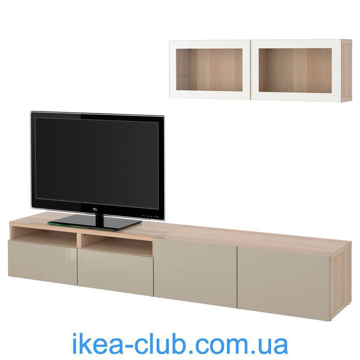 ИКЕА (IKEA) CLUB : 39000 товаров ИКЕА в Украине | 391.904.95, БЕСТО, Шкаф для ТВ, комбин/стеклян дверцы, дуб окрашенный белый, Selsviken высокий глянец / бежевый прозрачное стекло, 240x20/40x166 см
