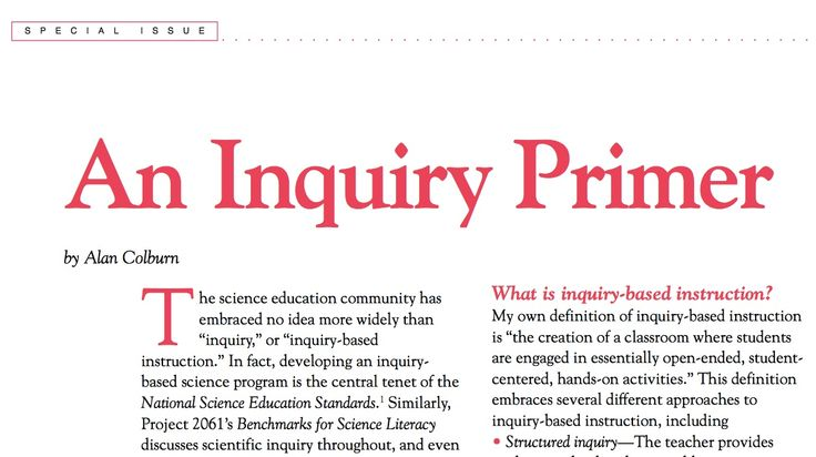An Inquiry Primer (Colbourn, 2000) from Science Scope, March 2000 / A general overview of different forms of inquiry, including guided inquiry.