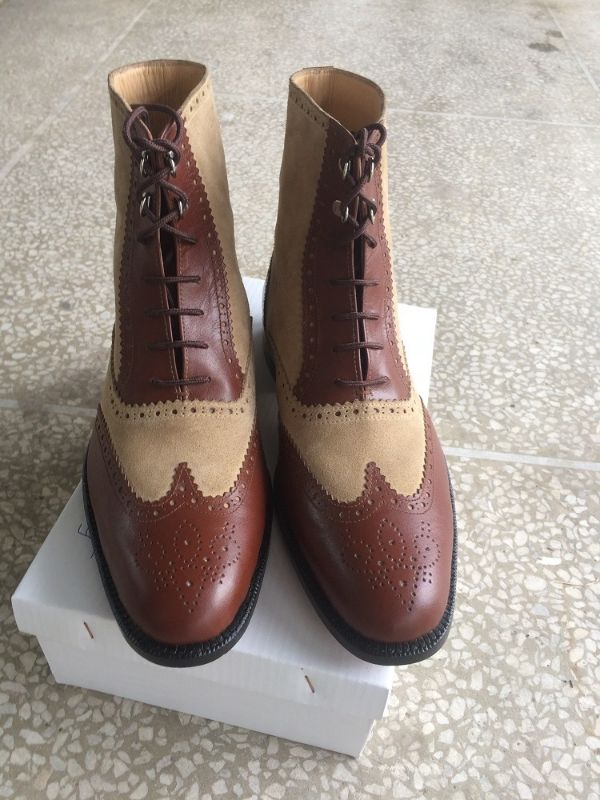 New Handmade Men Brogue Style Real Brown Leather Ankle Boots, Men Leather boot - Boots