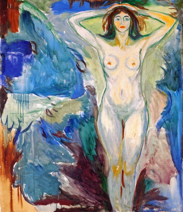 Edvard Munch - Standing Nude against Blue Background, ca. 1925/30