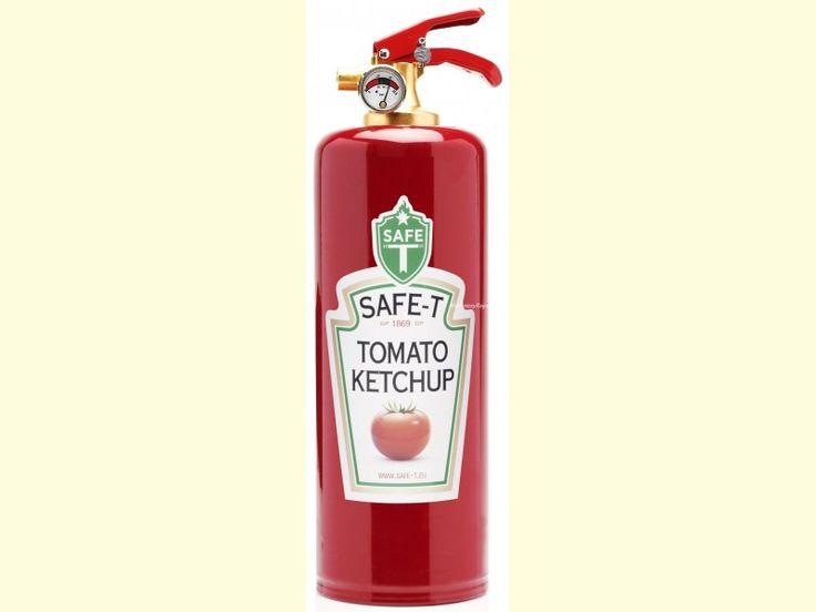 Fantástico Extintor decorado modelo KETCHUP con fondo rojo. Ideal para tener en casa o en el coche (garantía de 5 años). El contenido del extintor es de 1 kg. de polvo ABC. Fabricado bajo normativa europea.