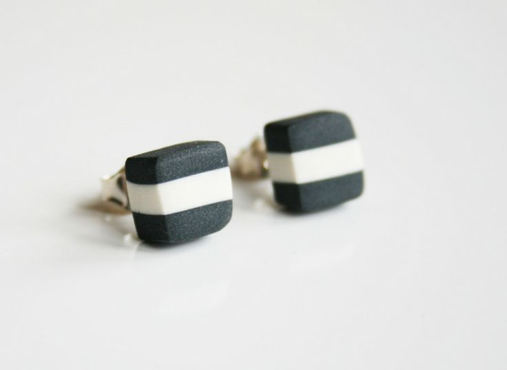 Striped studs, porcelan black from Marie Olofsson Productdesign by DaWanda.com