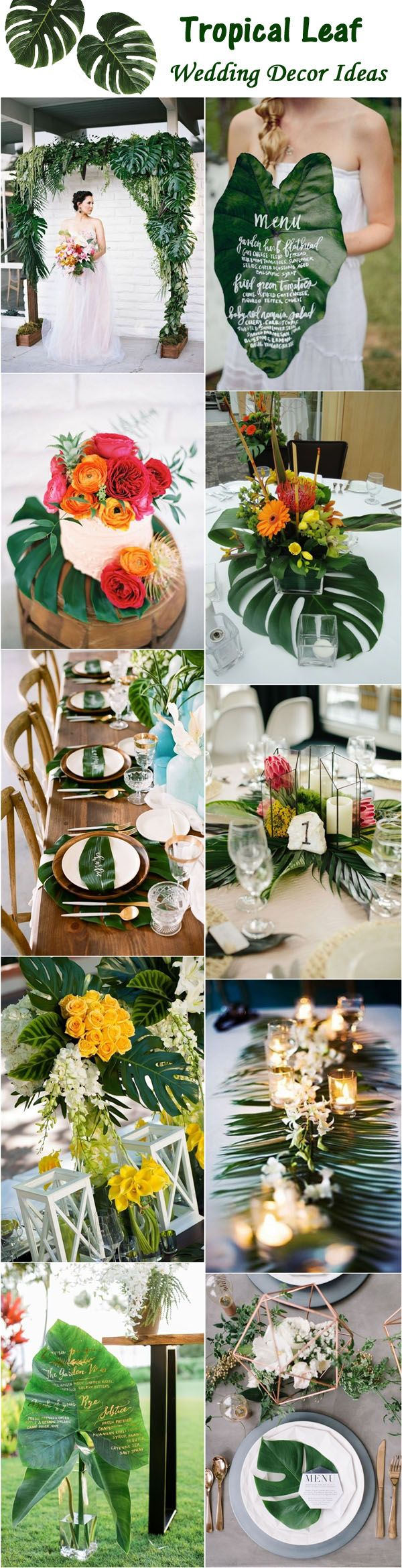 Tropical Leaf Green Wedding Ideas / http://www.deerpearlflowers.com/tropical-leaf-greenery-wedding-decor-ideas/