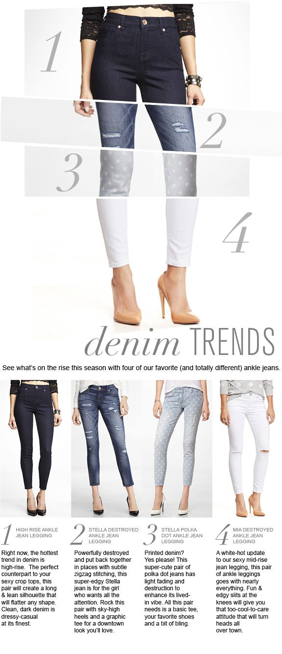 See what's on the rise this season with four of our favorite (and totally different) ankle jeans. #express #denim #fashion