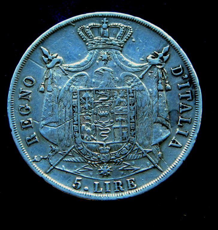 Италия 5 лир Император Наполеон 1812 М СЕРЕБРО Regno D'Italia Napoleon 5 lire