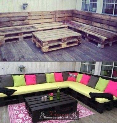 Дачная мебель из поддонов, садовая мебель из поддонов своими руками, дачная мебель из поддонов своим