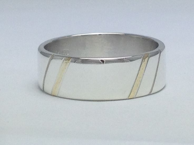 Gents 9ct Gold Inlay & Sterling Silver Ring www.carellajewellers.com Rockhampton Qld
