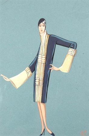 Paul Iribe 1924 Paris Gouache, Iribe uses graphic lifework to render in the form. The illustration is flat and plays on abstract quantities of the medium. There is also a strong distortion seen in the legs and arms to further aid in evoking elongation and a slender female figures of the 1920's.