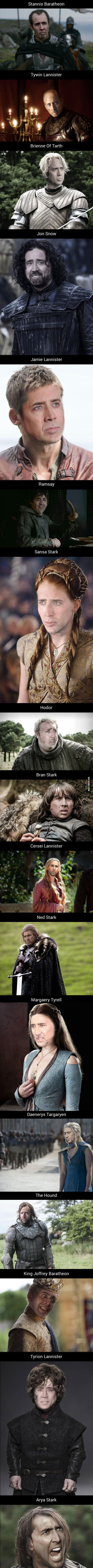 If Nicolas Cage Played Every Character In Game Of Thrones. Which Character Is The Most Cage-Like?