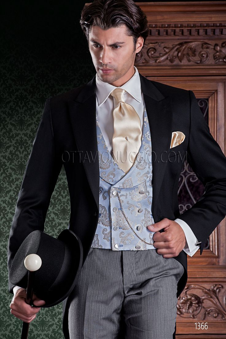 Morning suit with black super 140's wool Jacket, striped pants and light blue double-breasted waistcoat #groom #wedding #style