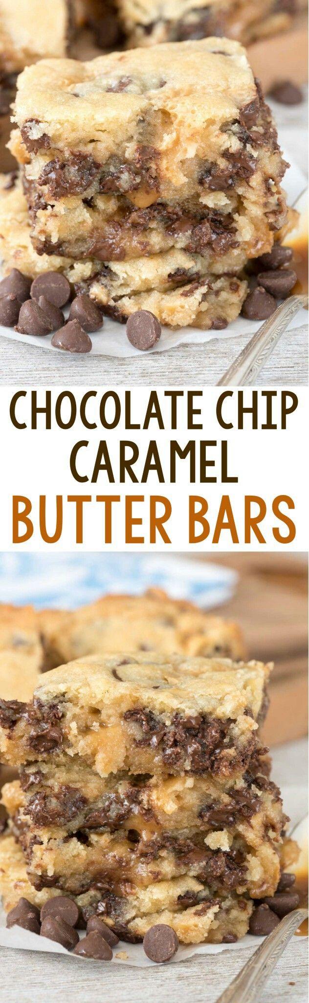 Chocolate Chip Caramel Butter Bars