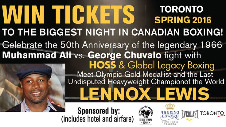Enter to win a VIP experience including a fun filled 2 nights stay & airfare to Toronto to see the biggest night in Canadian boxing.