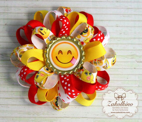 Emoji hair bow  Yellow and Red Emoji Hair Bows  by ZakolkinoCom