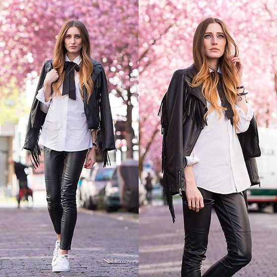 Adidas Sneakers, Leather Pants, Blouse, Leather Jacket