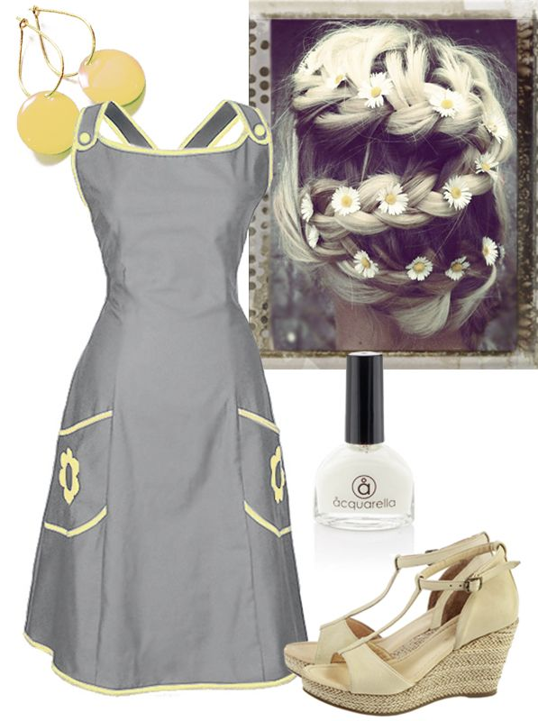 Summer time: In Ecoutures Karoline dress with accessories: Our yellow Dot-earrings, shoes from Martin Natur. We recommend Aquarella. the only truly safe nail polish that is both water-based and non-toxic. And braids with flowers