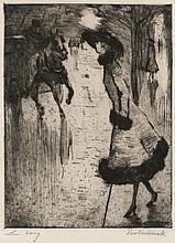 Ury, Lesser: Dame, eine Pferdedroschke rufend