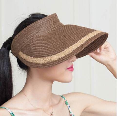 c1f011b13b7 Cheap flower straw visor hat for women UV package sun hats