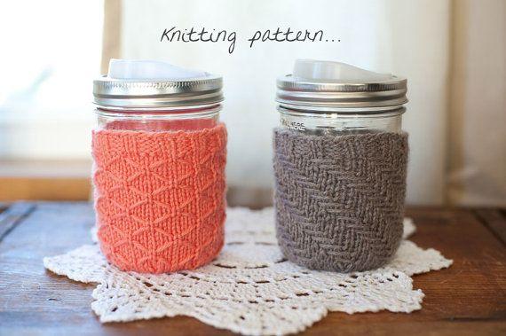 Mason Jar Mug Cozy Knitting Pattern... His & by madelinebea, $3.50