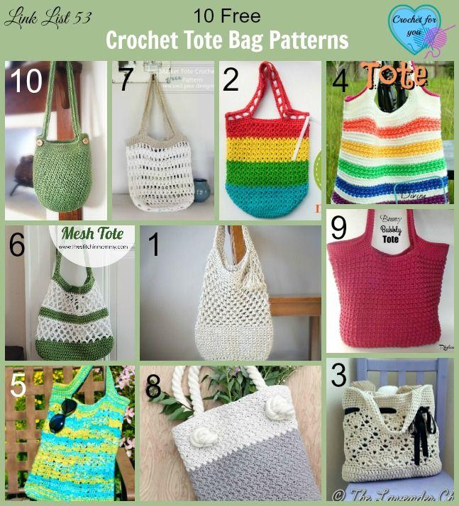 Crochet Tote Bags - 10 free crochet pattern link list on Crochet For You Blog.