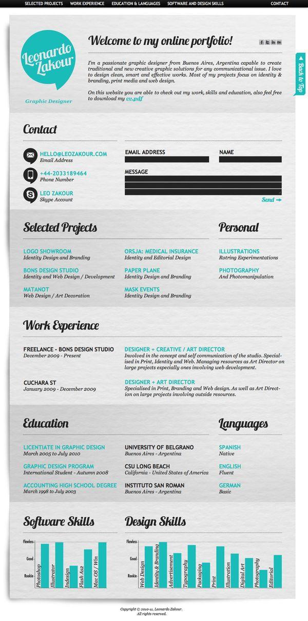 Resume: Creative Cv, Graphic Design, Leonardo Zakour, Idea, Cv Design, Creative Resume, Cvs, Resume Design, Infographic