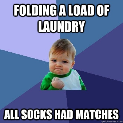This has NEVER happened for me. (folding a load of laundry all socks had matches - Success Kid Meme)