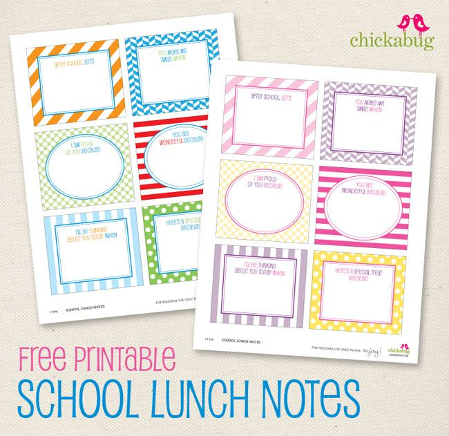School lunch notes- Free printables!