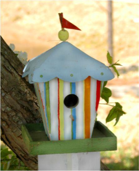Circus barn birdhouse