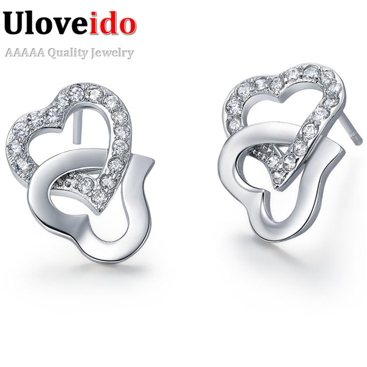 Uloveido Ladies Fashion Double Heart Earrings Silver Plated Wedding For Women Earring Vintage Jewelry Dropshipping