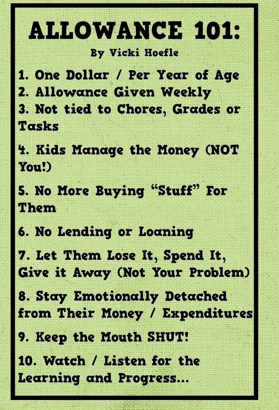 I wonder about not connecting allowance with chores. We work for our money as adults. Re-read freakanomics before starting allowances. The rest I like though.