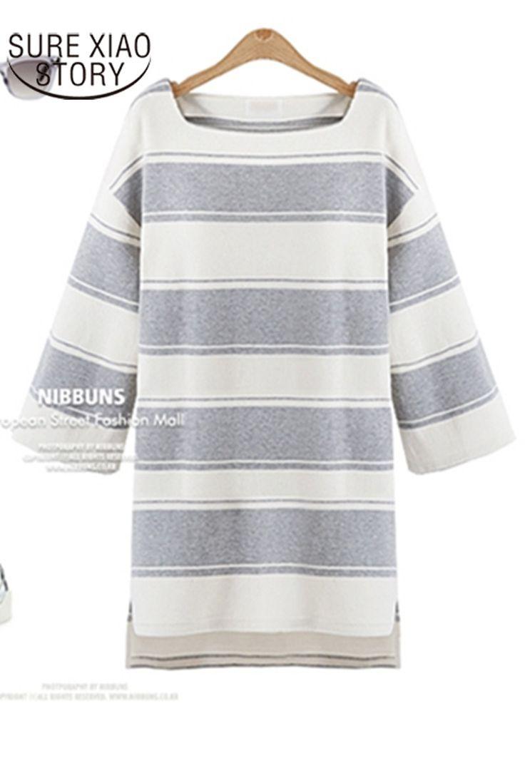 New Large Size  Autumn Stripes Dress 2017 Straight Type Knee-length Dress Slim Casual Style Long Nine Sleeves Dress 701E 30