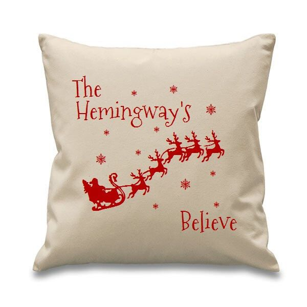 Personalized Christmas Cushion Cover - Personalised Family Believes Christmas Cushion with Insert - Festive Decorative Pillow Gift Xmas by P2YGiftsUK on Etsy https://www.etsy.com/listing/252346634/personalized-christmas-cushion-cover