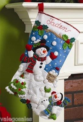 Bucilla Felt Applique Embroidery Kit SNOWMAN GAMES Stocking