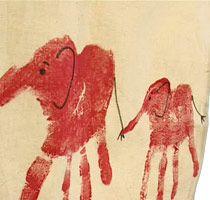 Handavtryck blir elefanter