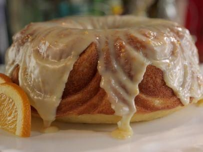 "Orange Blossom Bundt Cake with White Chocolate Ganache (Pizza Jammin' All Night: White Party) - Damaris Phillips, ""Southern at Heart""on the Food Network."