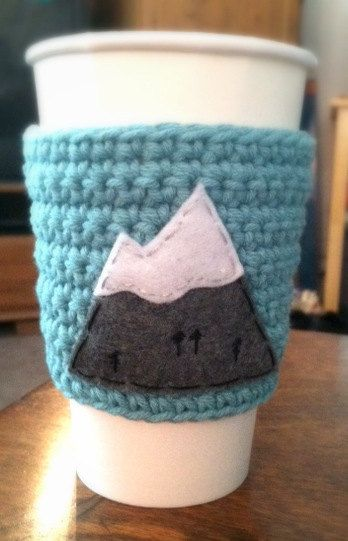 Snowy Mountain Top Coffee Cozy - made in Portland