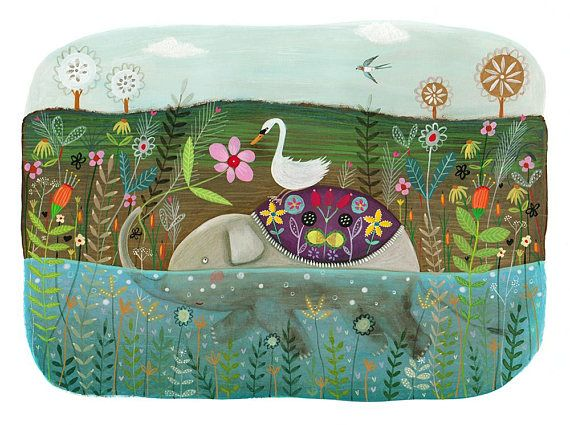 The Luxurious Journey  Original Artwork of Elephant and Swan