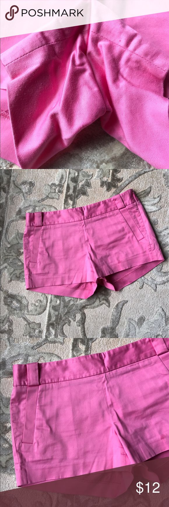 J. Crew Factory pink shorts summer vacation Good condition women's size 6 J.Crew factory shorts. Bubblegum pink color. Smoke-free pet free home. Measures 31 inch waist, 3 inch inseam, 8.5 inch rise, 10.5 inches front Hem length. Very minimal pilling interior thigh. Barely noticeable but want to point out. Flat front. Pockets. J. Crew Factory Shorts