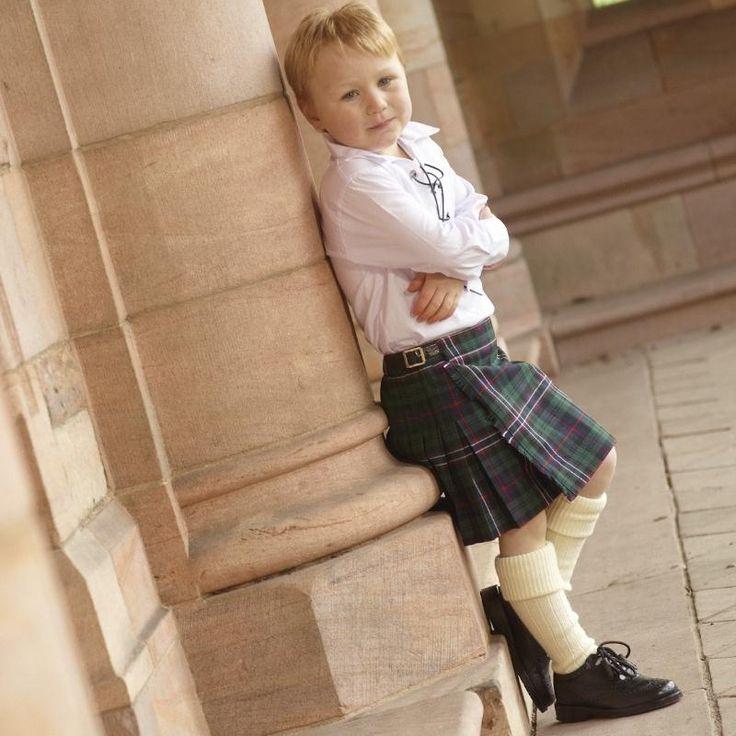 Scottish National boys tartan kilt with ecru kilt socks and black kilt brogues. So cute for a #Scottish wedding!