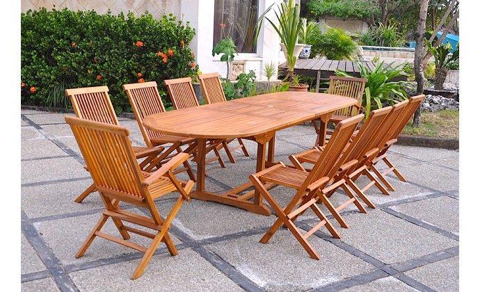 Lubok 10 Ovale Table Et Chaises De Jardin Salon De Jardin Teck Et Agrement De Jardin