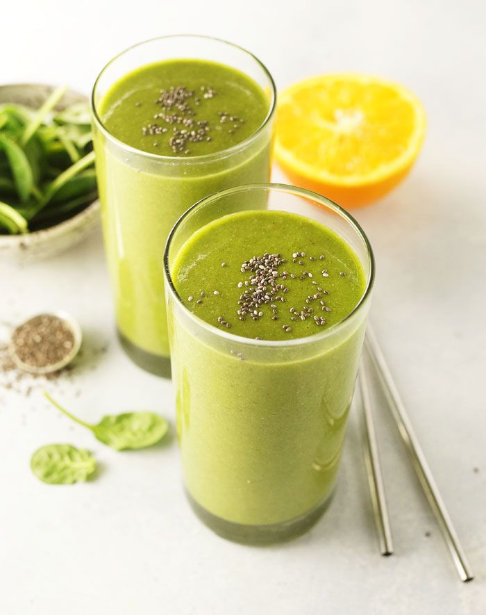 Easy Gorilla Green Smoothie. This healthy smoothie recipe combines tropical fruits and protein-packed chia seeds for a filling breakfast or snack!