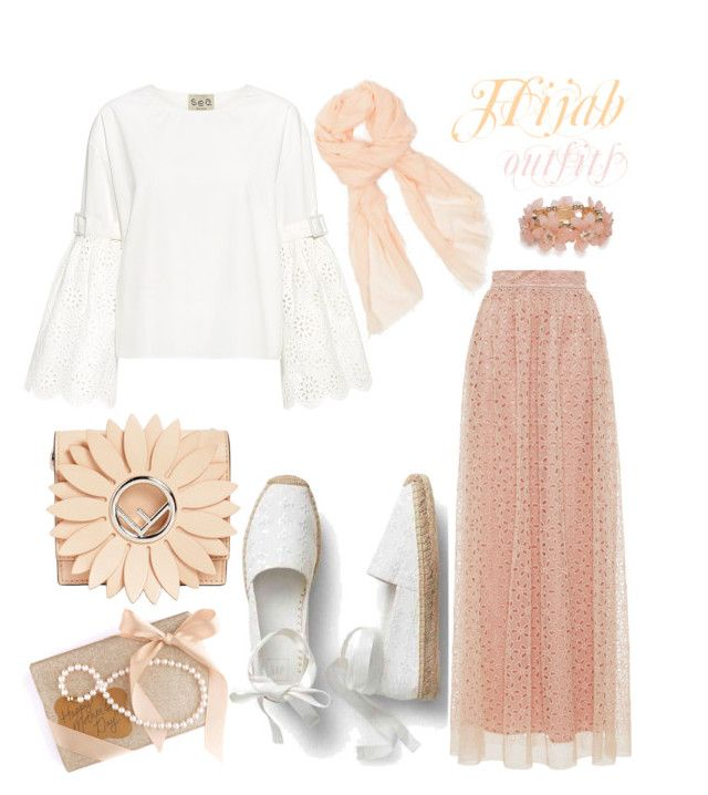 """""""#Hijab_outfits #salmon"""" by mennah-ibrahim ❤ liked on Polyvore featuring LUISA BECCARIA, Sea, New York, New Directions, Fendi and Azalea"""