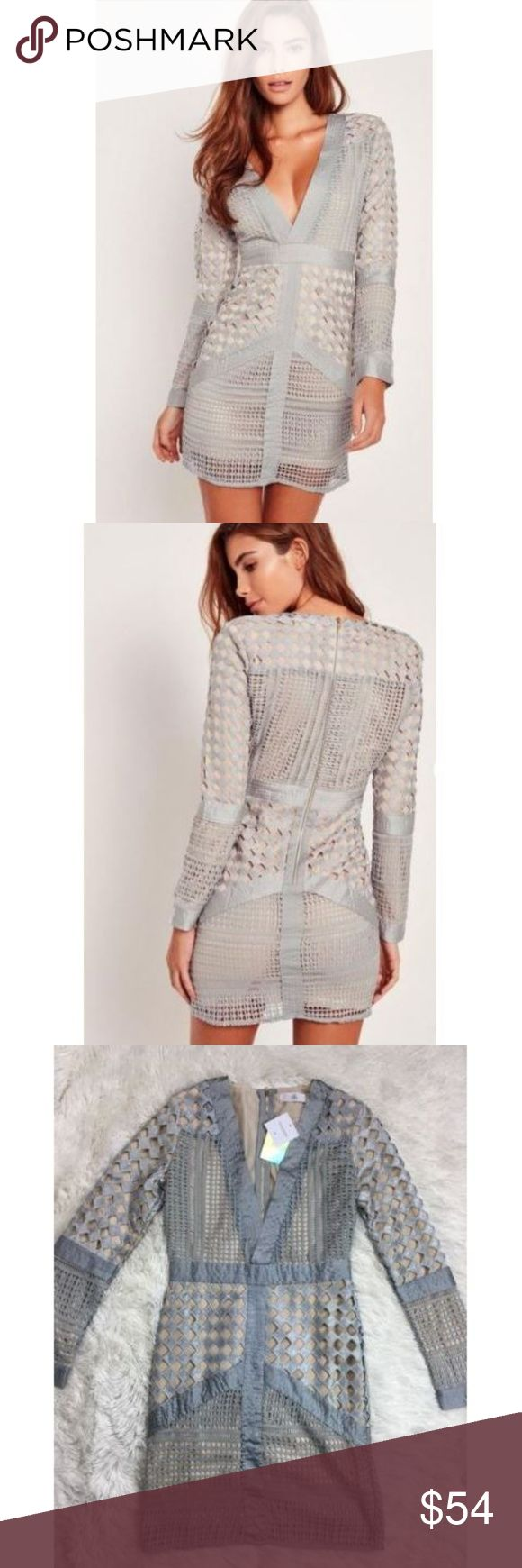 Missguided Dress USA 6 Gray Plunge Bodycon Caged Missguided Dress USA sz 6 Gray Plunge Bodycon Caged Cocktail Mini Nude Lined NEW Total length is 35 inches unstretched. Bust is 40 inches, unstretched d99 Missguided Dresses Mini